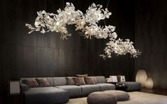 Light Sculpture Gingko B 700 is a large impressive porcelain and light installation that breathe light and e…