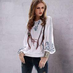 Summer Style Women Vintage New Boho Cotton Linen Shirt Women
