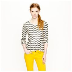 JCREW Sequin Chevron Tee Perfect to dress up or dress down--pair with distressed denim or layer with a crisp button up. A comfy option for party season! Missing a couple sequins (see photo)--not noticeable overall.  No trades please. J. Crew Tops Tees - Long Sleeve