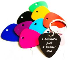 Custom Guitar Pick Keychain Personalized Engraved Musicians Gift For Husband Dad Boyfriend Groom
