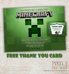 Printable Birthday Invitation, FREE Minecraft Thank You Card, Minecraft Party Invitation, Creeper Birthday Party Invitation, Mining, Creeper...