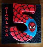 number five spiderman theme, cake - Taartmama.nl - Visit to grab an amazing super hero shirt now on sale! Spiderman Cupcakes, Spiderman Torte, Spiderman Cake Topper, Spiderman Birthday Cake, 5th Birthday Cake, Novelty Birthday Cakes, Superhero Cake, Superhero Birthday Party, Boy Birthday