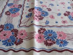 Pineapple House Antiques ~ Vintage blue, pink and pink floral tablecloth!