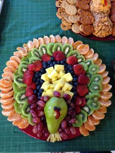 Thanksgiving fruit tray- don't know if mine looked as good, but pretty close! I used blackberries instead of blueberries. Thanksgiving Fruit, Thanksgiving Appetizers, Thanksgiving Recipes, Holiday Recipes, Holiday Foods, Quick Recipes, Thanksgiving Decorations, Fruits Decoration, Snacks Für Party