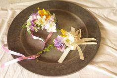 トロピカルウェディング花冠 、リストブーケ、ブートニアの3点セット