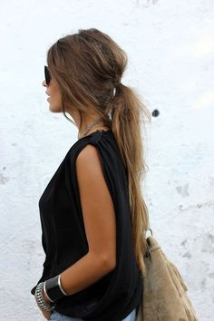 Low messy ponytails.