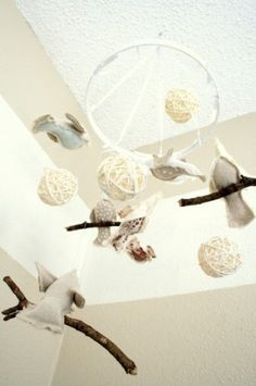 Sewing hoop + sewn birdies + ribbon = mobile