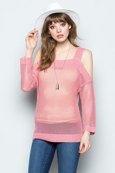 2789bf88de039a Dusty Pink Cold Shoulder Square Neck Knit Sweater Top