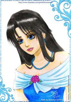 Anime girl in blue dress by areemus.deviantart.com on @DeviantArt