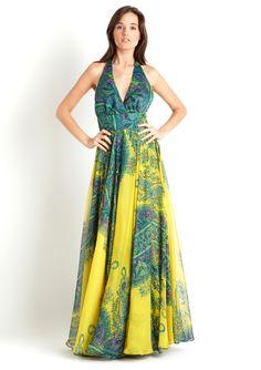 Meghan Fabulous | Sleeveless long dress with paisley print