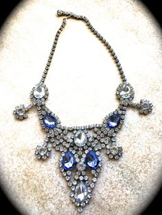 Sapphire Rhinestone Bib Necklace, Art Deco Bib Style Sapphire Rhinestone Bib Necklace, Art Deco Bib Style Art Deco Bib Necklace- Rhinestone Statement Necklace- Victorian Necklace- Bridal Any bride would be lucky to. Rhinestone Jewelry, Vintage Rhinestone, Wedding Jewelry, Antique Necklace, Antique Jewelry, Vintage Jewelry, Vintage Necklaces, Blue Necklace, Heart Pendant Necklace