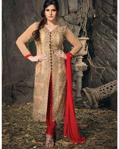 Light Brown Colour Net Party & Wedding Wear Heavy Zari Work Middle Slit Churidar Suit (Zarine Khan) Z3006