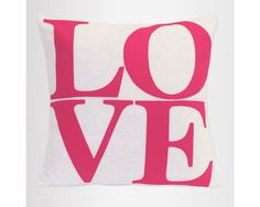 Pink Love Pillow Appliqued Eco-Felt Cover on Pure White - 18 inches Felt Cover, Pink Love, Pure White, Applique, Php, Pure Products, Lettering, Pillows, Drawing Letters