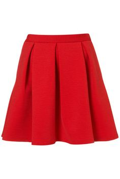 Red Ribbed Pleated Skirt