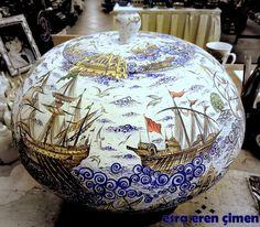 1 Glass Ceramic, Ceramic Art, Scenery Paintings, Turkish Tiles, Nautical Art, Tile Art, Paint Designs, Clay Art, Traditional Art