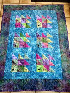 Handmade fish quilt of batik fabric and by QuiltsJewelryCatsOMy, $215.00