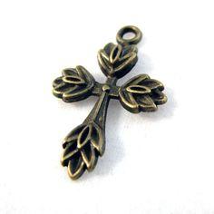 Charms : 10 Antique Bronze Cross Charms   Cross Pendants H4K