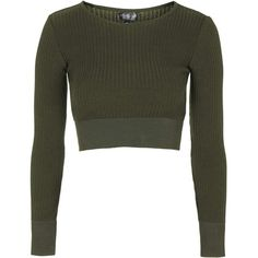 TOPSHOP Contrast Rib Crop Top (€51) ❤ liked on Polyvore featuring tops, sweaters, crop top, khaki, topshop, cropped sweater, slimming tops, long sleeve tops and topshop tops