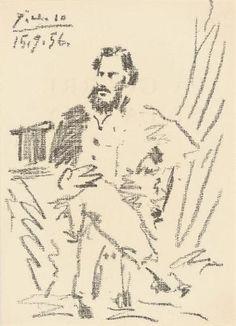 Pablo Picasso, Portrait of Léon Tolstoi, from La Guerre et la Paix (Mourlot 287; B 825; rf Cramer books 76), 1956