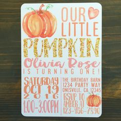Pumpkin 1st Birthdays, Pumpkin First Birthday, Pumpkin Patch Birthday, Pumpkin Birthday Parties, 1st Birthday Parties, First Birthdays, 1st Birthday Party Invitations, 1st Birthday Themes Girl, Birthday Name