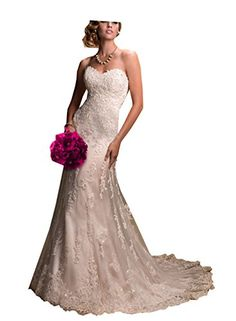 JinXuanYa long lace Beaded prom evening wedding dresses bridal dress 8 Ivory *** Learn more by visiting the image link.
