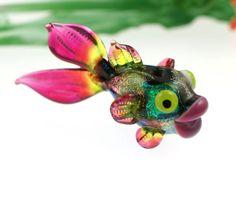 Dichroic Glass Lampwork Fish Bead
