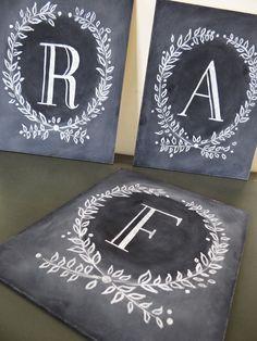 Custom Monogram Chalkboard - Monogrammed Christmas Gift - Monogram Wedding Gift - Monogram Sign. $45.00, via Etsy.