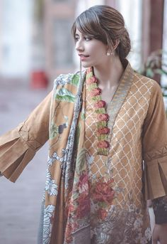 Cross stitch winter collection 2017 – 2018 for women. Neck Designs For Suits, Sleeves Designs For Dresses, Neckline Designs, Dress Neck Designs, Kurti Sleeves Design, Kurta Neck Design, Stylish Dresses For Girls, Stylish Dress Designs, Stylish Dress Book