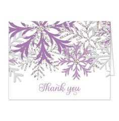 Winter themed Thank You Cards designed with purple, silver glitter-illustrated… Snowflake Cards, Snowflake Designs, Snowflakes, Print Thank You Cards, Thank You Card Design, Stamped Christmas Cards, Holiday Cards, Teal And Pink, Purple