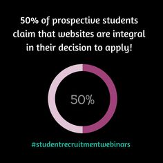 50% of prospective #students claim that websites are integral in their decision to apply! #studentrecruitmentwebinars