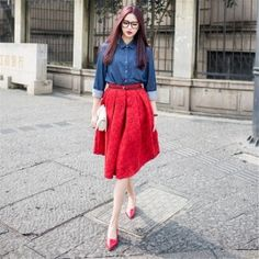 The New Retro Floral Print Skirt Umbrella Skirt Bust Skirt Red Work Skirts, A Line Skirts, Chiffon Skirt, Midi Skirt, Umbrella Skirt, Hobble Skirt, Types Of Skirts, Tiered Skirts, Pleated Skirts