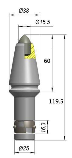 Резец H38EP-15,5 (ВЕТЕК ВТК10), траншейный круглый резец с диаметром 25мм