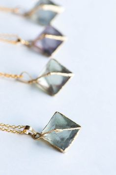 raw crystal geometric necklaces
