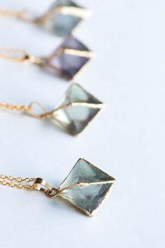 raw crystal geometric necklaces
