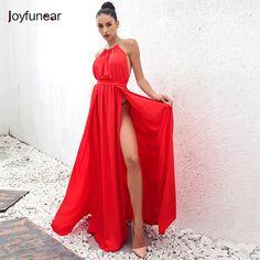 4e5ead29b7f 2016 New Autumn Fashion Sexy Halter Neck Dress high split Slim Waist off  Shoulder Backless Party Club Dresses