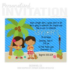 Luau Party Invitations Luau Invitations by PinkPickleParties