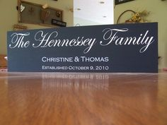 """Hand painted Family wood sign This sign is meticulously handpainted and complements any decorating style. Our Family Name Sign-Year Established allows you to celebrate the year your household was established.   The size is 20"""" x 5"""""""