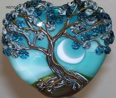 WSTGA~BEAUTIFUL BLUE SKIES~FLORAL TREE handmade lampwork focal glass bead SRA