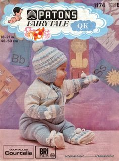Patons 1821 Top to toe warmth Baby Cardigan Knitting Pattern, Baby Knitting Patterns, Baby Patterns, Vintage Patterns, Crochet Patterns, Knitting Ideas, Nylons, Pram Sets, Knit Baby Dress