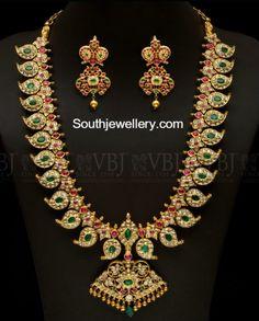 Mango Mala latest jewelry designs - Page 2 of 55 - Indian Jewellery Designs Gold Jewellery Design, Gold Jewelry, Diamond Jewelry, Antique Jewelry, Vintage Jewellery, Gold Bangles, Antique Gold, Diamond Rings, Bridal Jewelry Sets