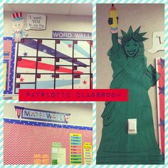 Patriotic classroom and bulletin boards. Statue of Liberty, Uncle Sam word wall.
