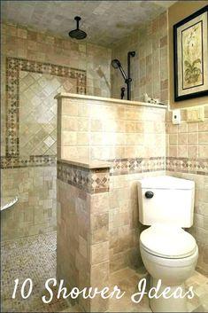 Doorless shower small bathroom ideas walk in no door home design pink floral curtain bathrooms wonderful Small Bathroom With Shower, Mold In Bathroom, Bathroom Design Small, Walk In Shower, Master Bathroom, Bathroom Ideas, Shower Rooms, Bathroom Showers, Bathroom Cleaning