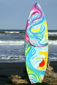 """Painted live on a surfboard   at an outdoor event in Shimokitazawa.   (To get an idea of what """"Shimo"""" is like, go to this very cool bl..."""