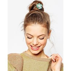 ASOS Sequin Flower Hair Clip (16.580 COP) ❤ liked on Polyvore featuring accessories, hair accessories, blue, barrette hair clip, flower hair clip, asos, floral hair clips and flower hair accessories