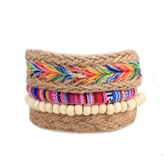 Multi-color Braided Macrame Beads Leather And Hemp Bracelet Friendship Bracelet Hemp Bracelet Beach Bracelet Unisex Women Men
