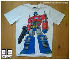 """Customized """"OPTIMUS PRIME"""" T-shirt (The Transformers Fanart) painted with textile markers by E&E DESIGN GbR, 54292 Trier www.eundedesign.com www.facebook.com/eundedesign www.instagram.com/eundedesign"""