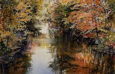 Autumn Gold by Nita Engle Watercolor Landscape Paintings, Pen And Watercolor, Watercolour Painting, Watercolor Flowers, Watercolors, Watercolor Techniques, Lovers Art, New Art, Scenery