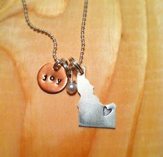 state of Idaho hand stamped necklace with by threechickscouture, $28.50