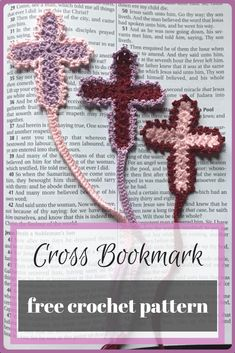 The Cross Bookmark is dainty with a vintage feel, perfect for saving your place in your Bible! The free crochet bookmark pattern works up quickly. Easy Crochet Bookmarks, Crochet Bookmark Pattern, Crochet Cross, Beaded Bookmarks, Crochet Gratis, Free Crochet, Crochet Top, Easter Crochet, Bible Bookmark