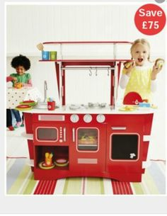 Toy Kitchen http://www.mothercare.com/ELC-Retro-Diner-Kitchen/141199,default,pd.html